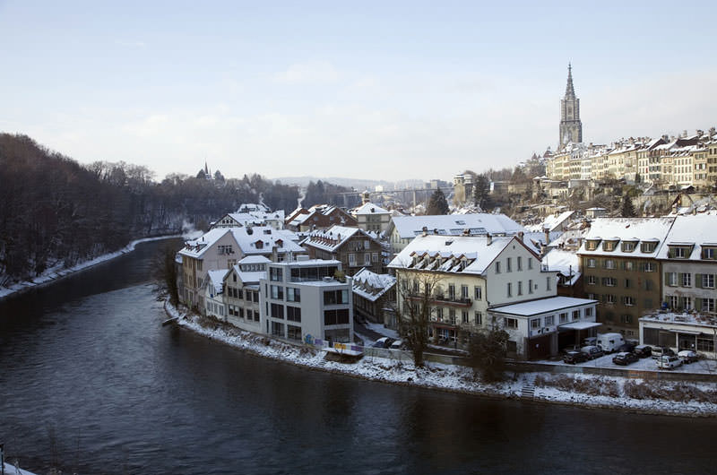 A view of the old town of Bern, a medieval city in Switzerland, naturally fortified by a curve in the river Aare
